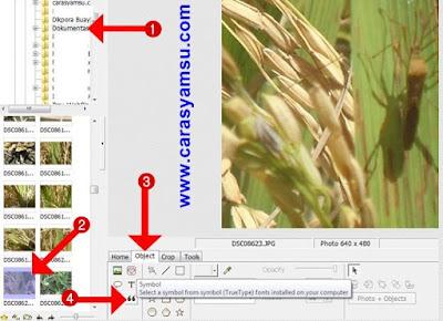 Pilih Foto/Gambar yang akan diberi simbol dan klik menu object dan simbol