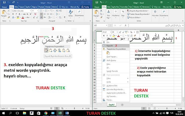 Word'e Arapça Nasıl Kopyalanır Yapıştırılır ?
