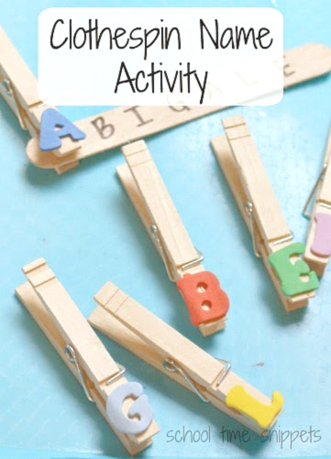preschool name activity using clothespins