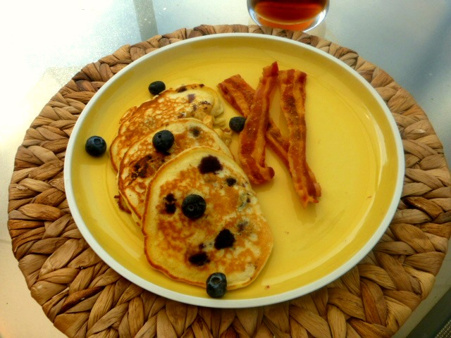 Fluffy, tender pancakes, bursting with hot blueberries and country flavor! A weekend breakfast staple.  Easy Country Blueberry Pancakes - Slice of Southern