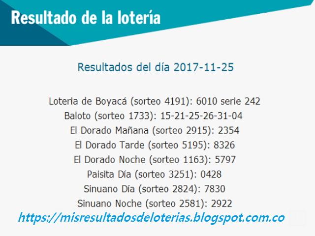 Como jugo la lotería anoche | Resultados diarios de la lotería y el chance | resultados del dia 25-11-2017