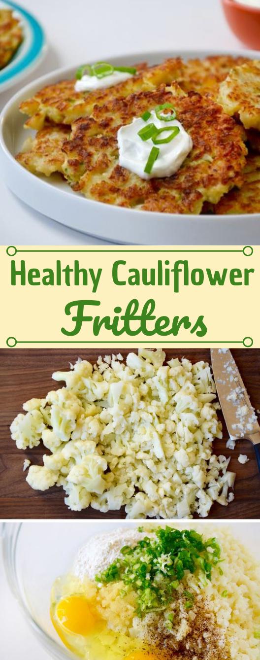 Healthy Cauliflower Fritters #cauliflower #vegetarian #easy #food #mushroom