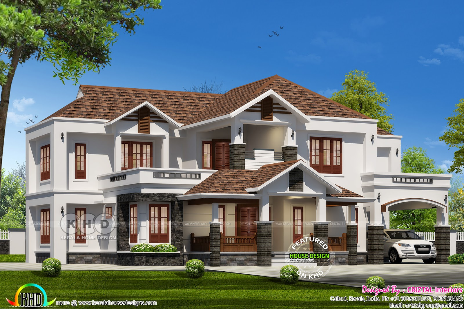 3442 sq ft sloping roof house with 5 bedrooms kerala for Style at home august 2017