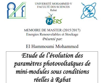 Etude de l'évolution des paramètres photovoltaïques de mini-modules sous conditions réelles à Rabat