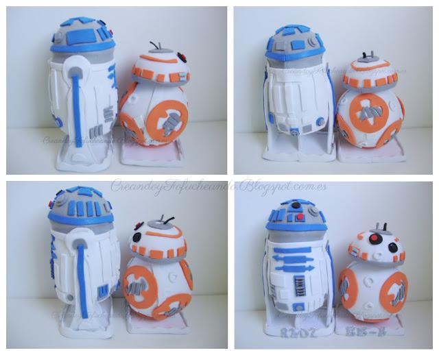 Perfiles de los Fofuchos R2-D2 y BB-8 en goma eva