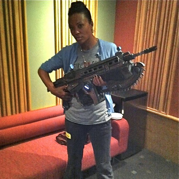 Aisha Tyler is going to shoot you with a machine gun