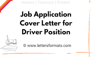 samples job application cover letter for drivers position