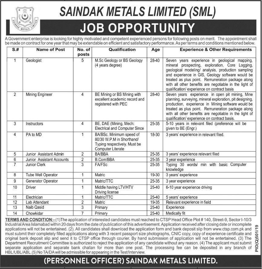 Jobs in Saindak Metals Limited in Islamabad