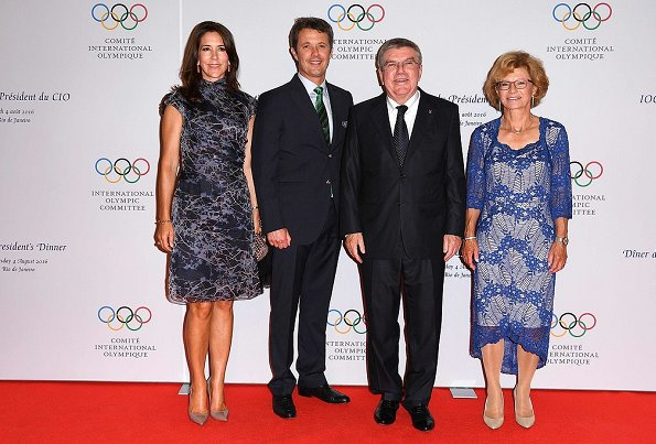 Crown Princess Mary and Crown Prince Frederik at a dinner for Rio 2016 Olympic Games. Prince Albert