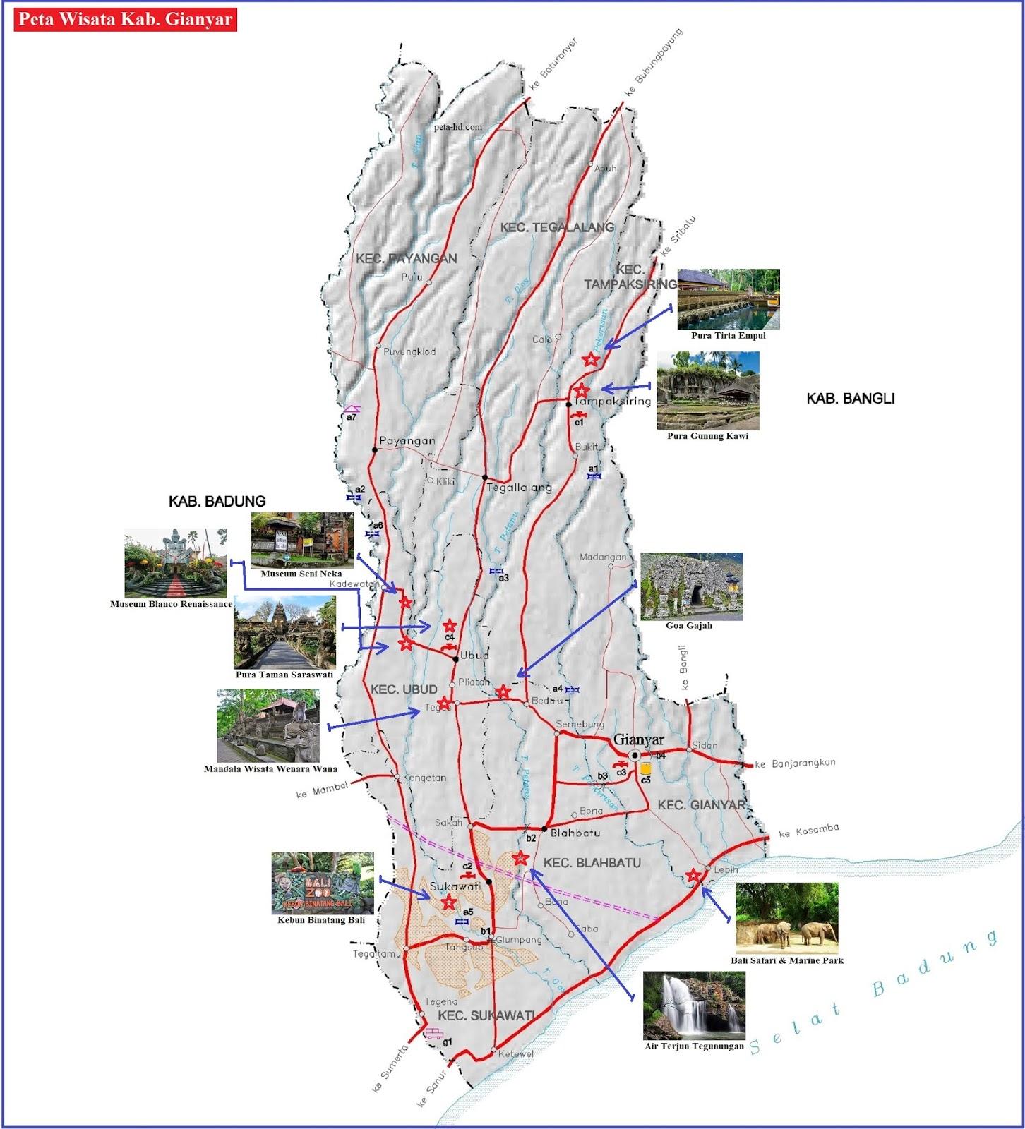 Peta Wisata Kabupaten Gianyar, Bali