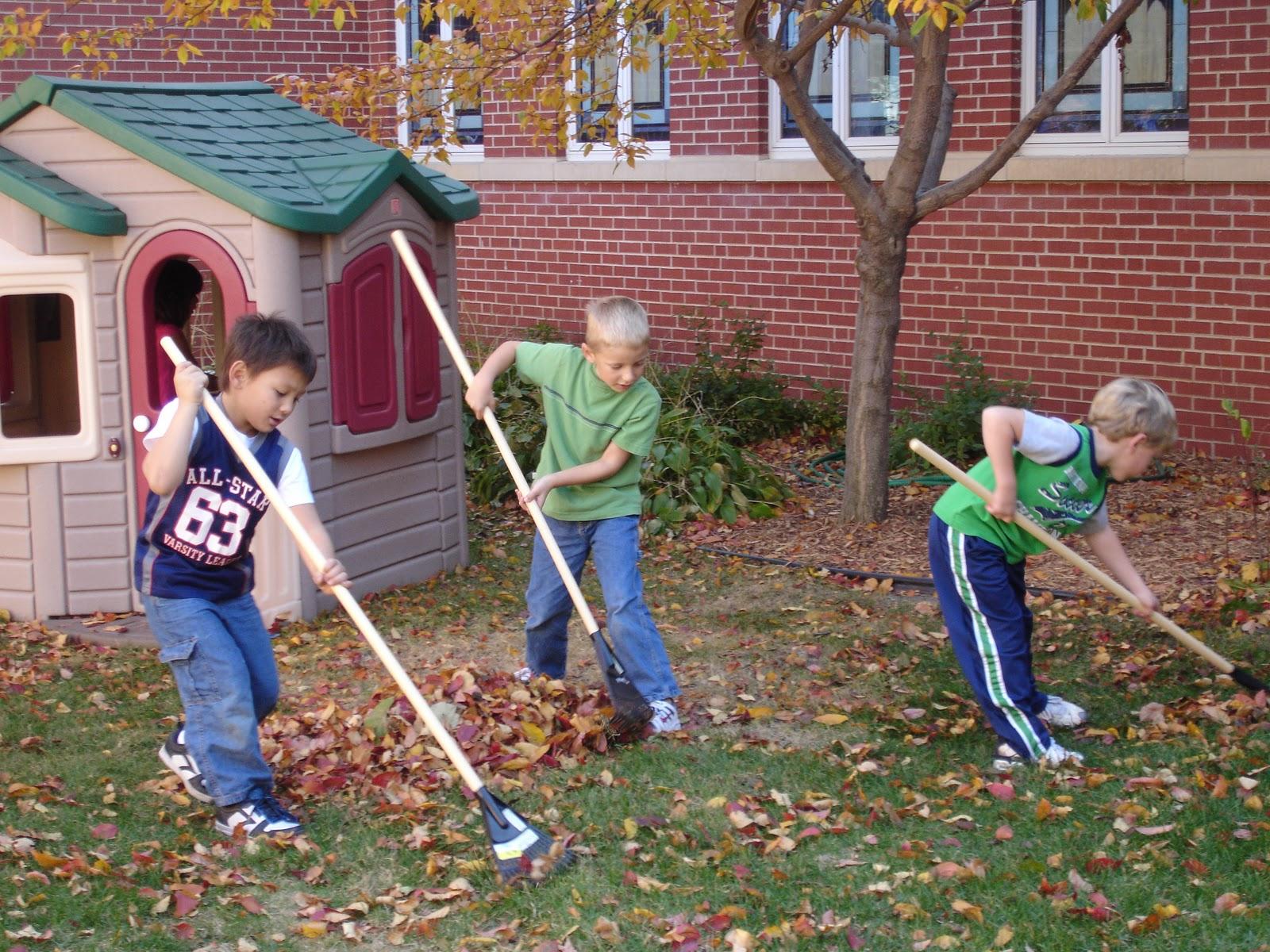 The Very Hungry Preschoolers Raking Leaves