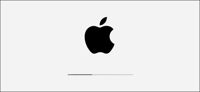 شعار Apple وشريط تقدم التثبيت في iPadOS.