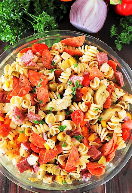 Large Bowl of Antipasto Pasta Salad Image