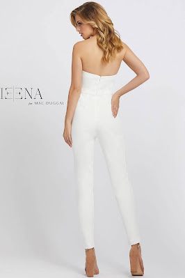 Sweetheart With Jacket Evening Dress Ieena For Mac Duggal White Color back side