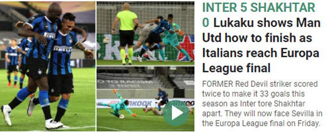 """Lukaku cú đúp, Inter đại thắng: Báo chí """"đá xoáy"""" MU, Solskjaer muối mặt 2"""