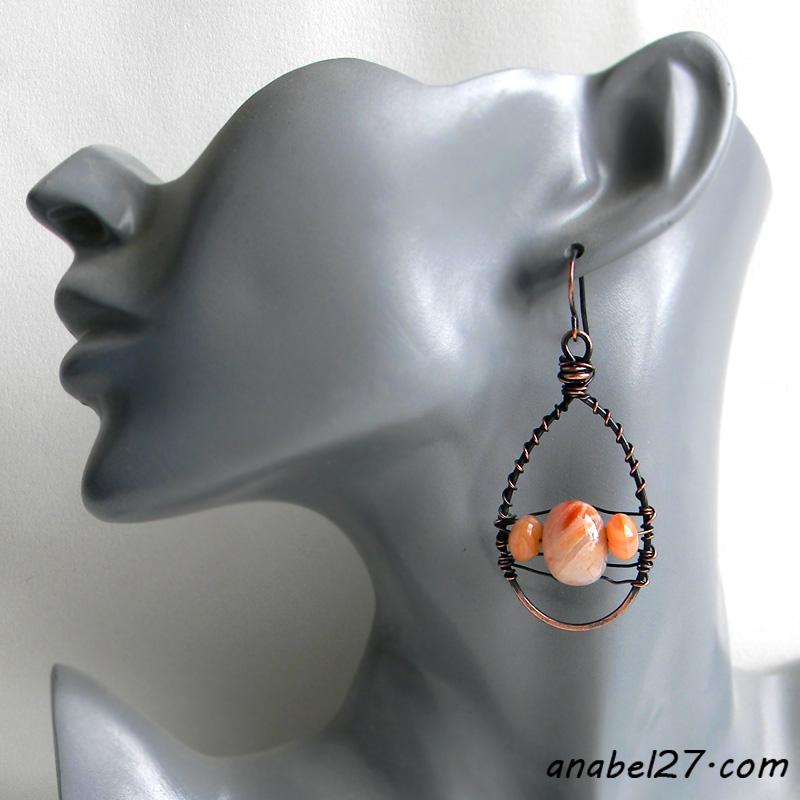 Медные серьги с яшмой - украшения wire wrap