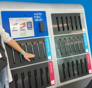 Device vending machine at Austin Public Library