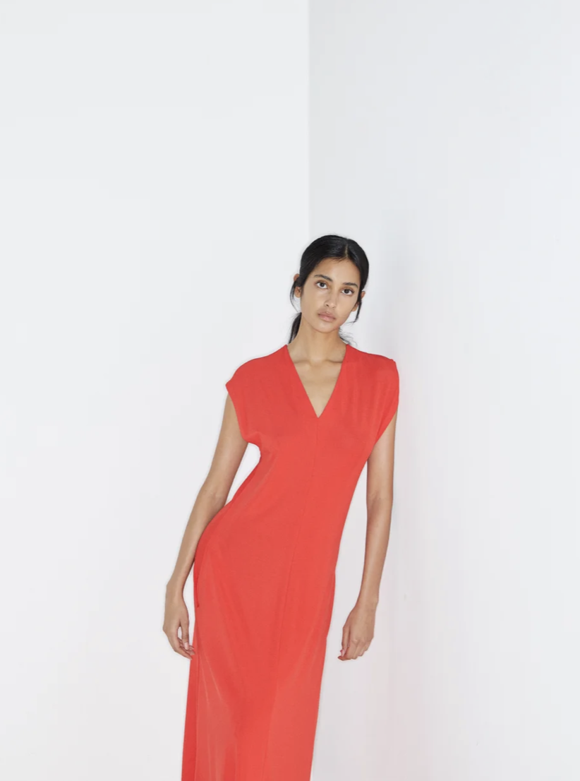 Raey red v neck cap sleeve crepe jersey dress