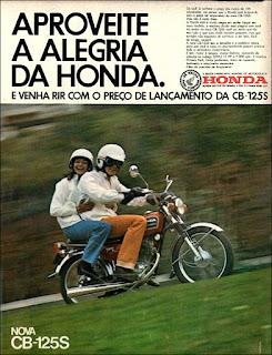 propaganda  moto Honda CB-125S - 1973, moto Honda anos 70, Honda década de 70, moto antiga, Oswaldo Hernandez,