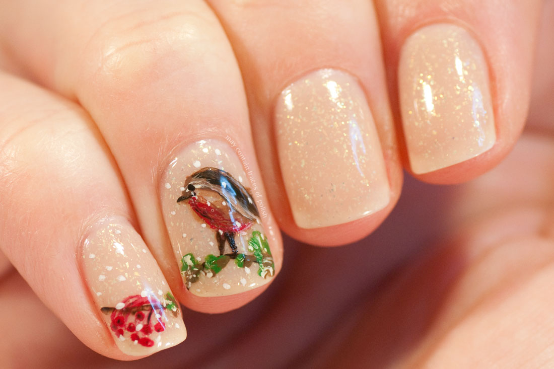 Christmas Bird Illustration Nail Art
