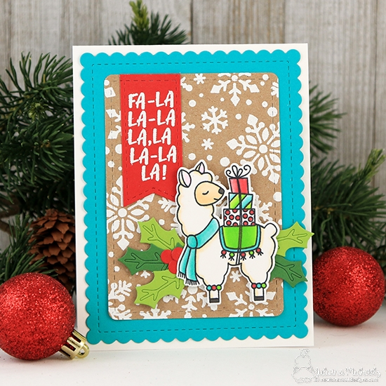 Fa-la-la-la-llama Card by Juliana Michaels | Llama Delivery Stamp Set and Snowfall Stencil by Newton's Nook Designs #newtonsnook