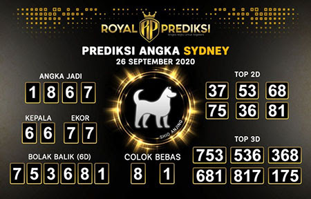 Royal Prediksi Sidney Sabtu 26 September 2020