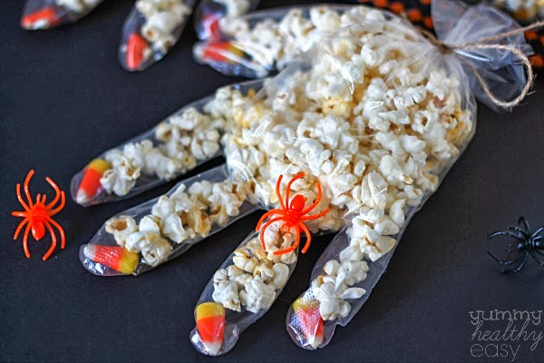 Healthy Popcorn Hands #healthyhalloweensnackideas