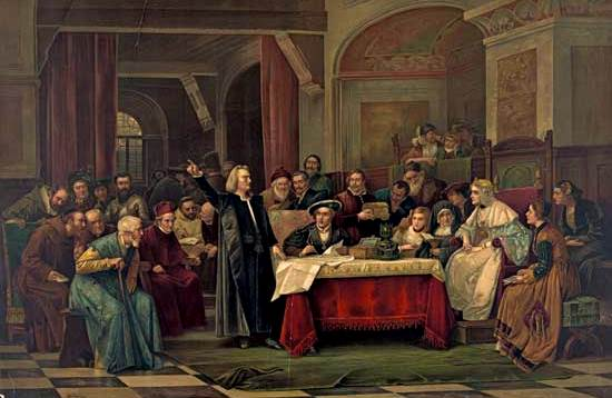 Cristóbal Colón solicitando el apoyo de Isabel I y Fernando II de España
