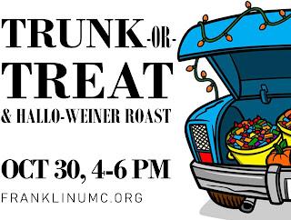 Franklin United Methodist: Trunk or treat - Oct 30, 4 - 6 PM