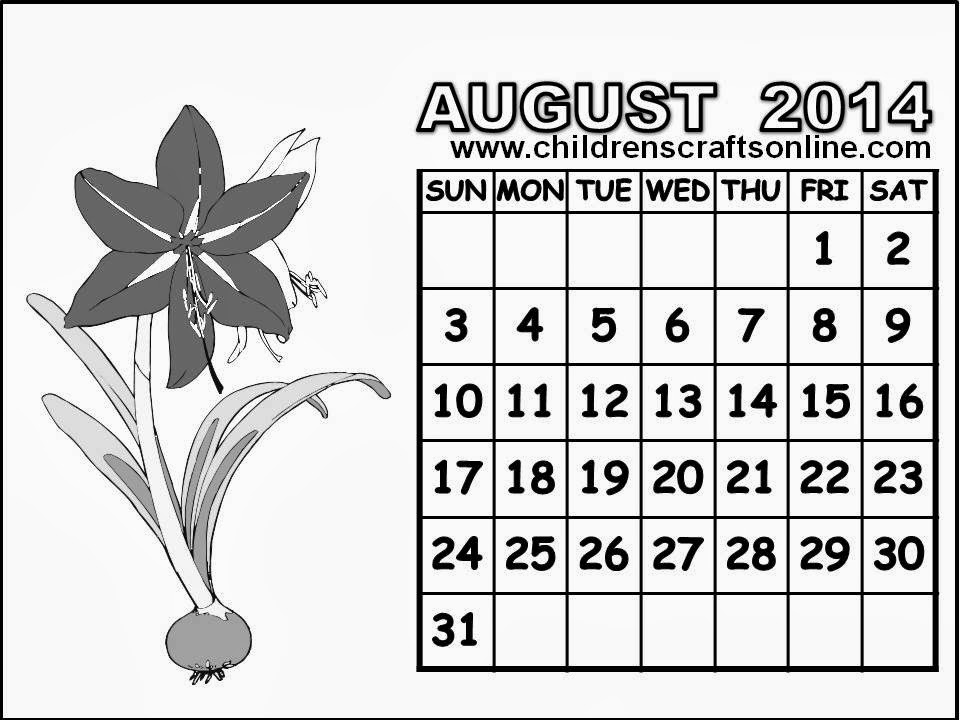 Free coloring pages of august 2015