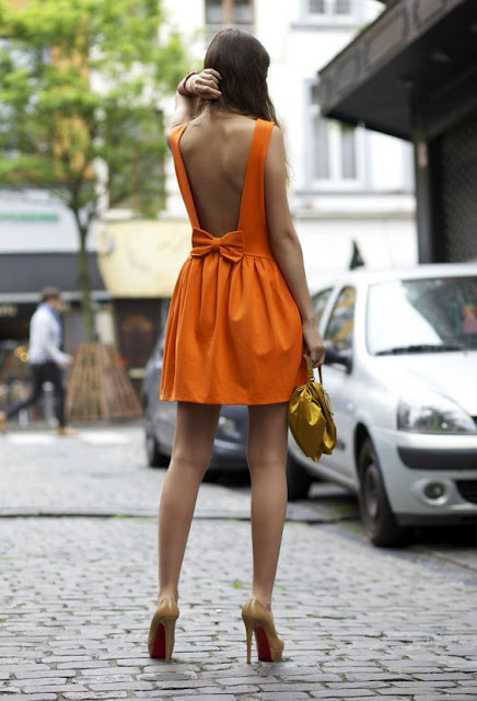 Orange-back-less-bell-tie-Dress