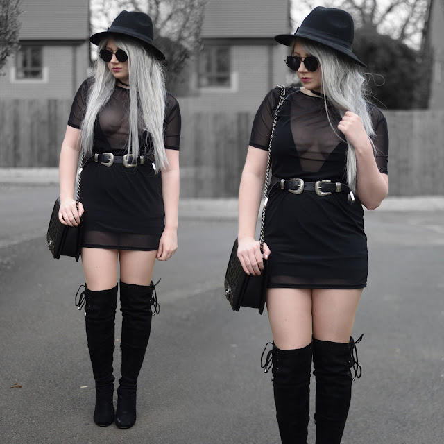 Sammi Jackson - Primark Black Fedora, Zaful Sunglalsses, Black Choker, Mesh Dress, Asos Plunge Swimsuit, HM Basic Skirt, ASOS Double Buckled Belt, OASAP Quilted Bag, Boohoo Suede Over the Knee Boots