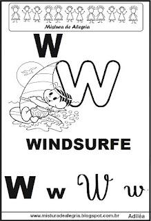 Alfabeto ilustrado letra W
