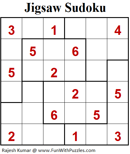 Jigsaw Sudoku (Mini Sudoku Series #94)