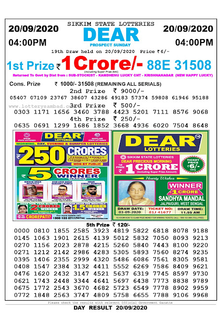 Sikkim State Lottery Sambad 20-09-2020 Today Result 4 PM