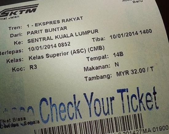 Tiket keretapi Inter-City Parit Buntar Kl Sentral