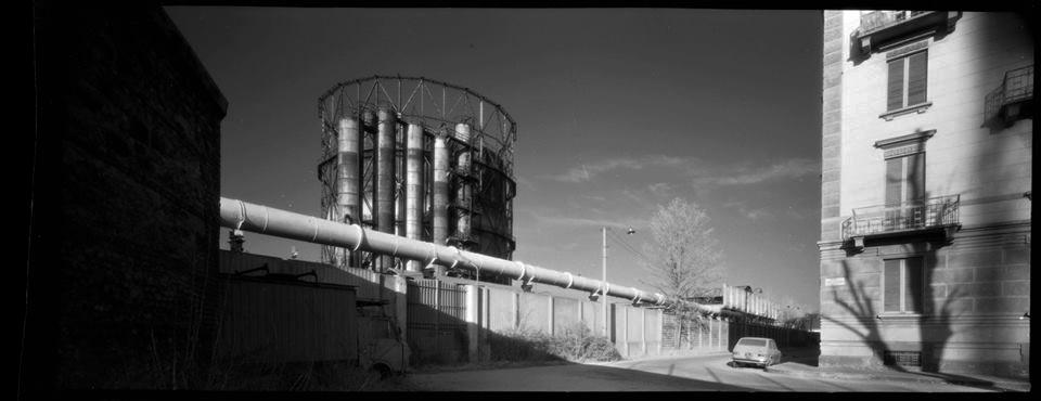 Torino, corso Farini, circa 1990, camera 6X14 e film IR BN 70 mm - Fotografia di Giorgio Jano
