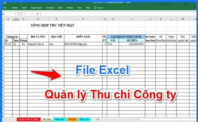 Download file excel quản lí thu chi doanh nghiệp