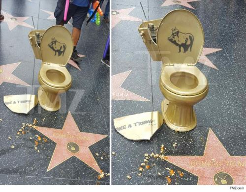 Donald Trump's Hollywood Walk of Fame star hit with a toilet