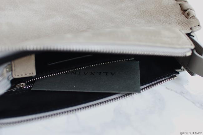 日本人ファッションブロガー,MizuhoK,NEW IN,MORI CROSSBODY (LIGHT CEMENT GREY),ALLSaints,SHOPSTYLE,BAG,オールセインツ、ショルダーバッグ、タッセル付き、バッグ、グレー、ショップスタイル