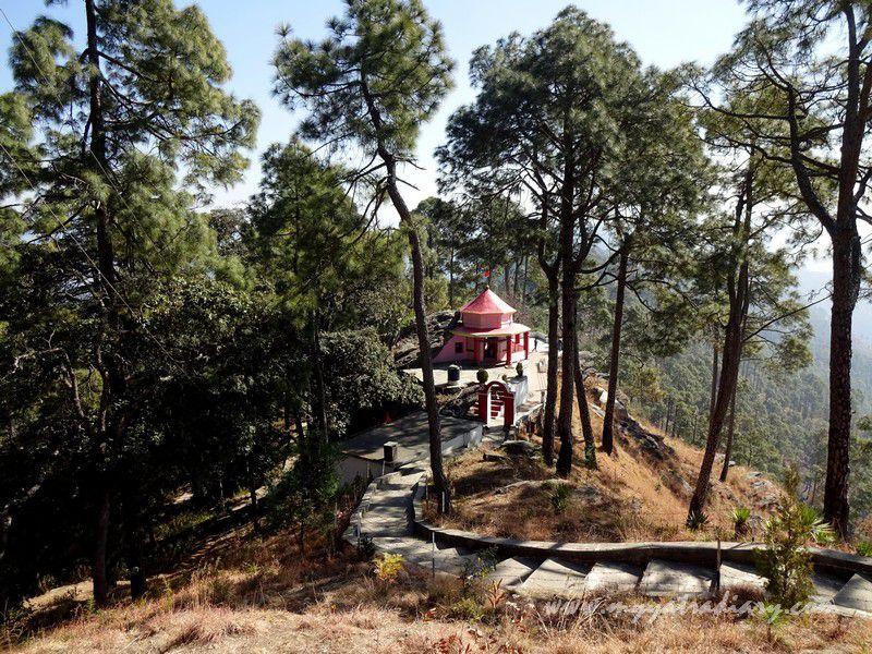 Kasar Devi Temple shrine view from Shiva Temple, Uttarakhand