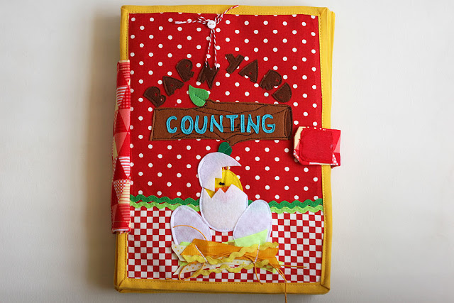 Barnyard counting, handmade quiet book, busy book, cloth book, fabric book