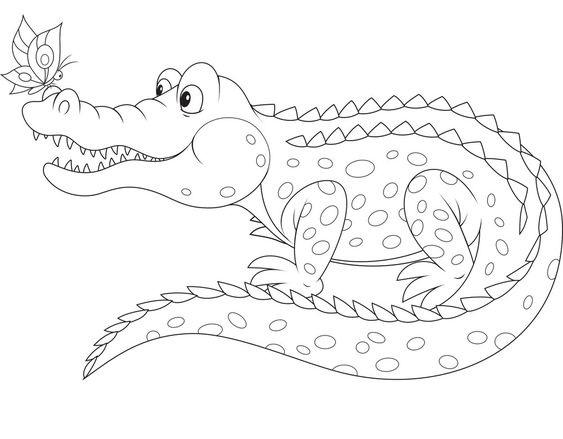 Tranh tô màu con cá sấu vui vẻ