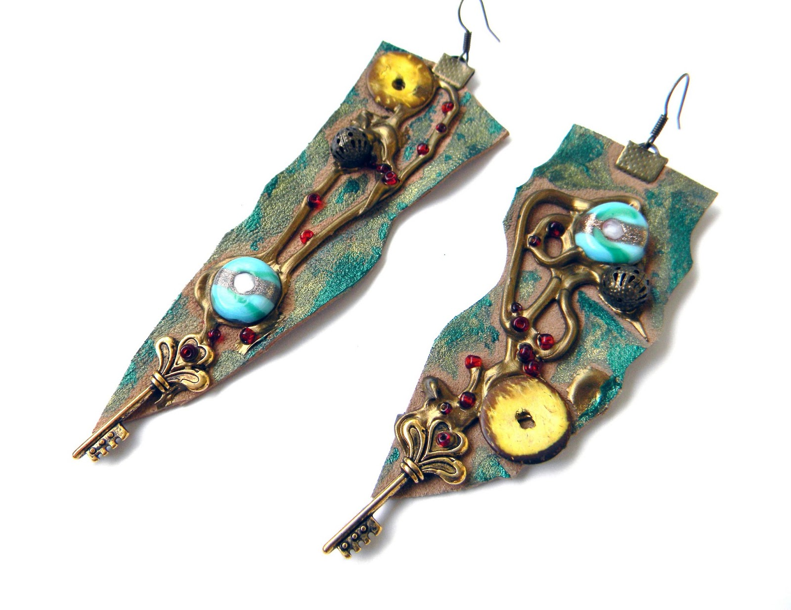Unique Handcrafted Earrings Leather Jewelry Steampunk Earrings