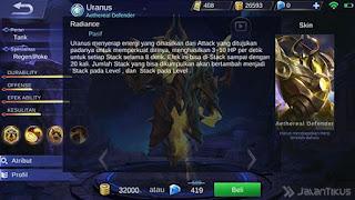 menyerupai biasa pada kesempatan kali ini kami akan membagikan sebuah  BBM MOD APK Build Item Uranus (Embelm, Ability, Gear, Skills) Hero Baru Mobile Legends