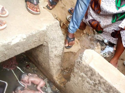 Wickedness! Day-old twins die after being abandoned in gutter by mother. PHOTOS