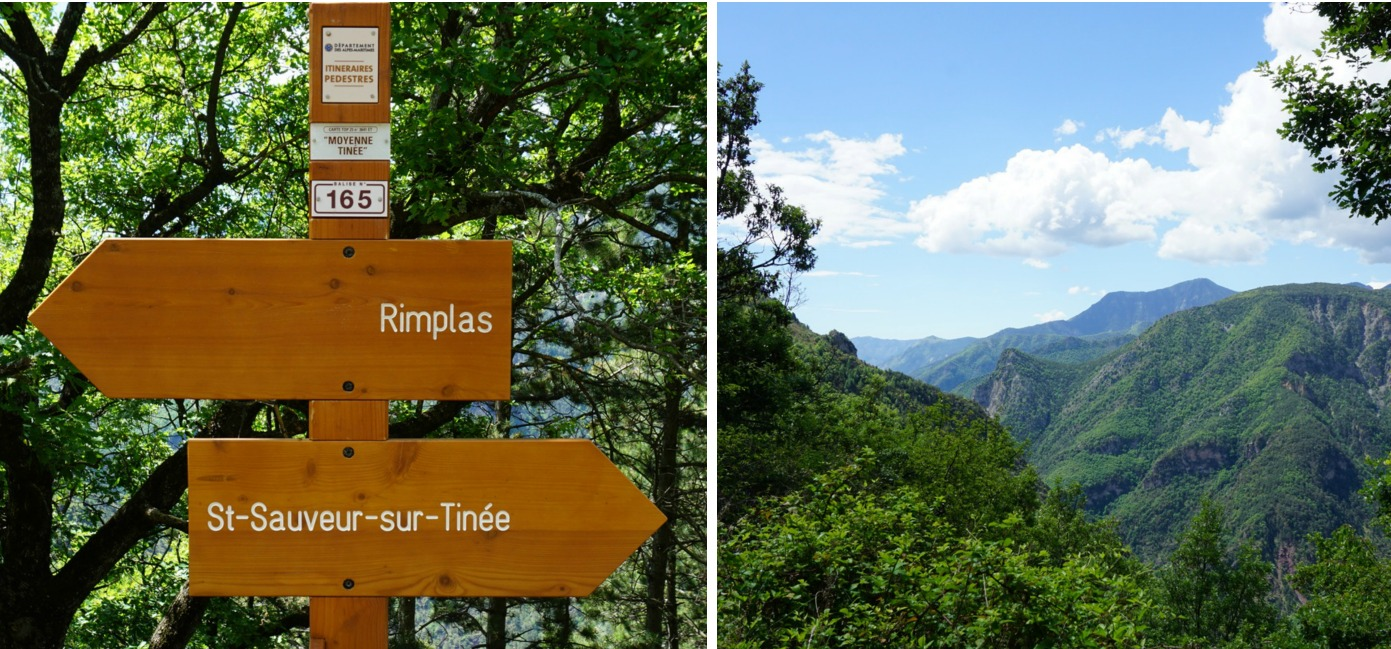 Signpost#165 and view to Tinée River Valley