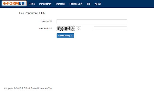 Tampilan website eFORM BRI di https://eform.bri.co.id/bpum