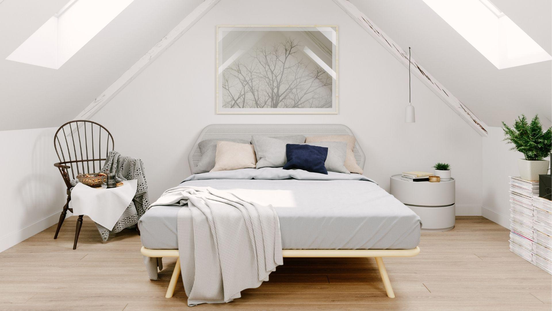 sypialnia na niskim strychu