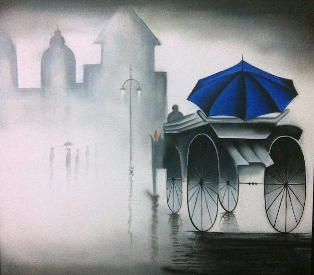 Rainy day and a blue Umrella on a Chariot